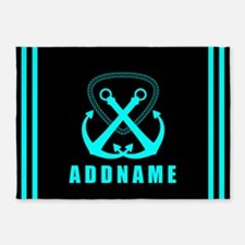 Aqua and Black Double Anchor Person 5'x7'Area Rug