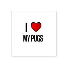 "Cute I love Square Sticker 3"" x 3"""