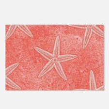 Coral Pink Starfish Pattern Postcards (Package of