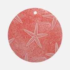 Coral Pink Starfish Pattern Ornament (Round)
