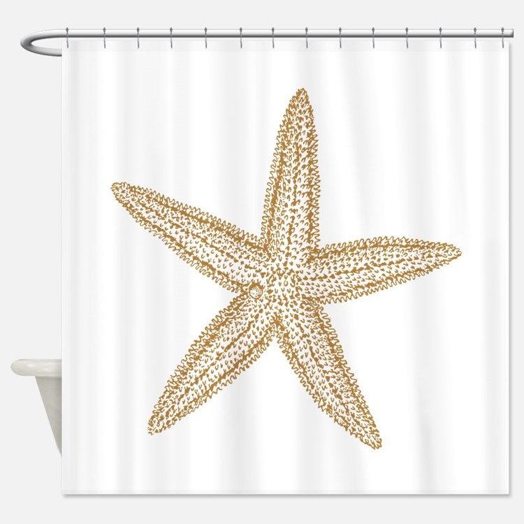 Star fish shower curtains star fish fabric shower for Fish shower curtain
