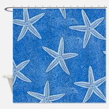 Aqua Blue Starfish Shower Curtain