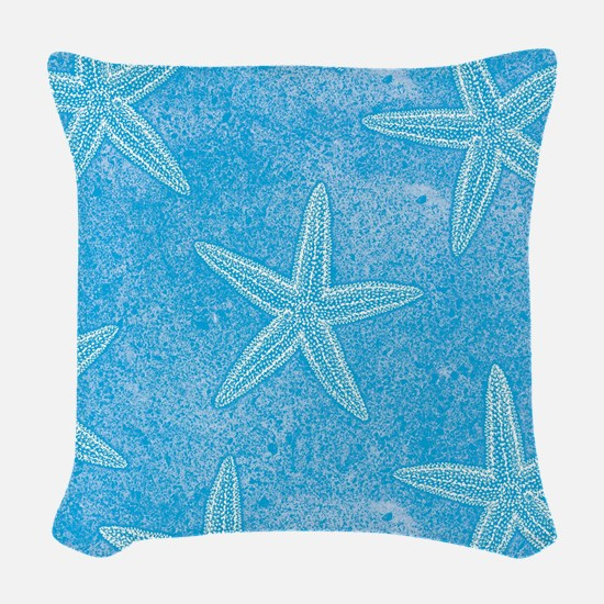 Aqua Blue Starfish Woven Throw Pillow