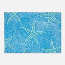 Aqua Blue Starfish 5'x7'Area Rug