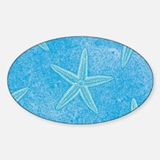 Aqua Blue Starfish Sticker (Oval)