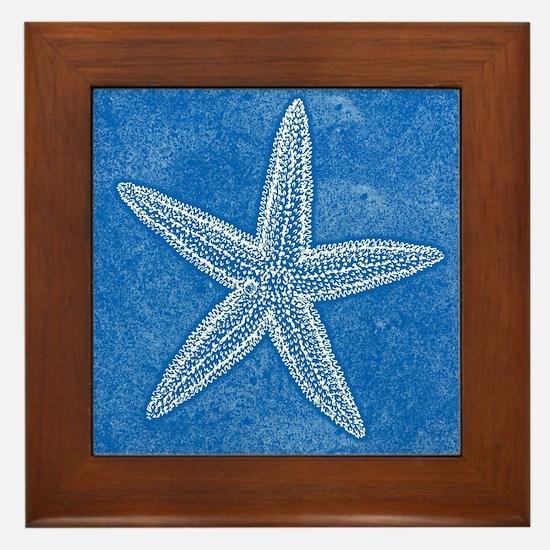 Aqua Blue Starfish Framed Tile