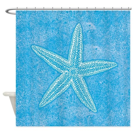 Aqua Blue Starfish Shower Curtain By Trendyteeshirts