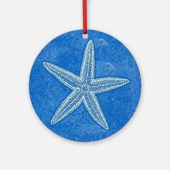 Aqua Blue Starfish Ornament (Round)