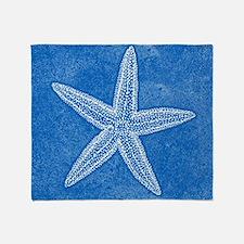 Aqua Blue Starfish Throw Blanket