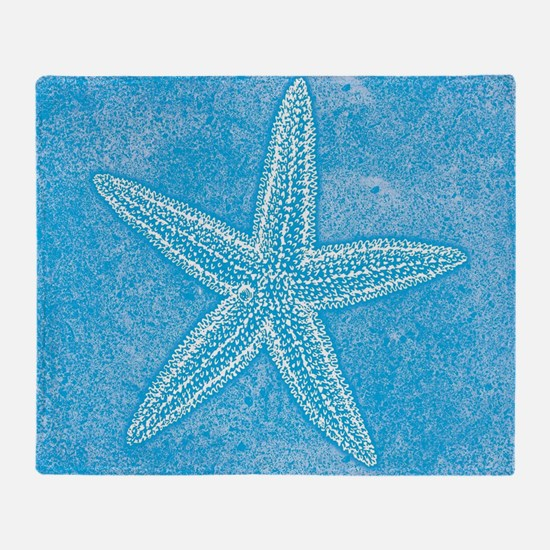 Aqua Blue Starfish Throw Blanket