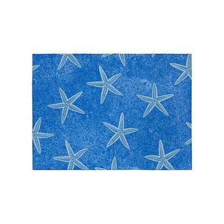 Aqua Blue Starfish 5 X7 Area Rug By Trendyteeshirts