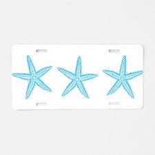 Aqua Blue Starfish Aluminum License Plate