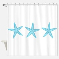 Aqua Blue Starfish Shower Curtain