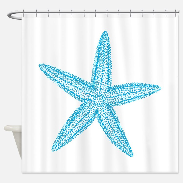 Nautical star shower curtains nautical star fabric for Star material for curtains