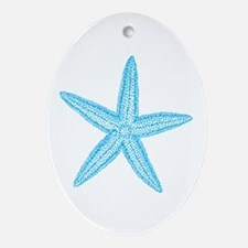 Aqua Blue Starfish Ornament (Oval)