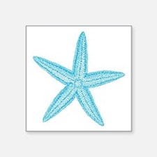 "Aqua Blue Starfish Square Sticker 3"" x 3"""