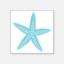 "Aqua Blue Starfish Square Sticker 3"" x 3"""
