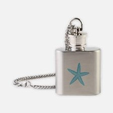 Aqua Blue Starfish Flask Necklace