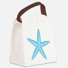Aqua Blue Starfish Canvas Lunch Bag