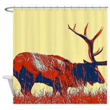 vintage western country elk Shower Curtain
