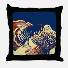 vintage american wild turkey Throw Pillow