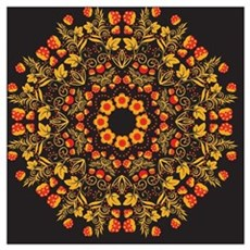 Russian traditional circular pattern mandala. Red  Poster