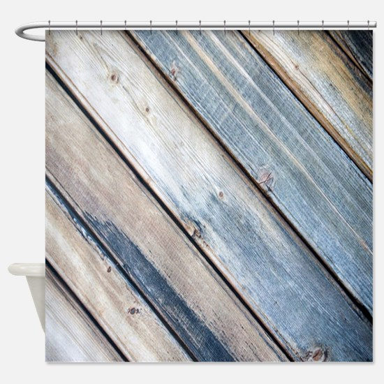 rustic primitive grey barn wood Shower Curtain