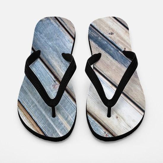 rustic primitive grey barn wood Flip Flops