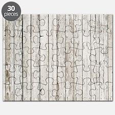 shabby chic white barn wood Puzzle