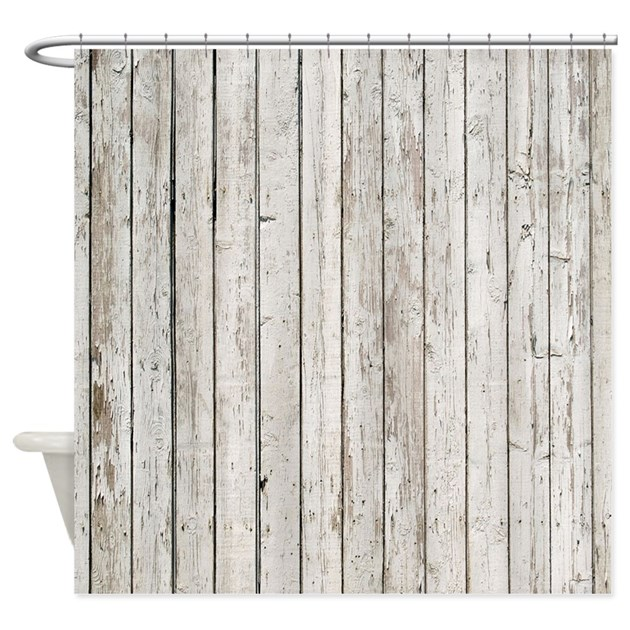 Shabby Chic White Barn Wood Shower Curtain By Listing