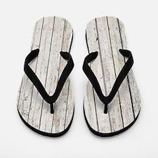 shabby chic white barn wood Flip Flops