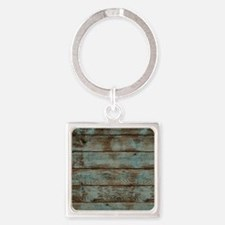 rustic western turquoise barn wood Square Keychain