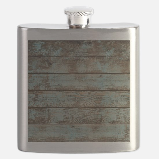 rustic western turquoise barn wood Flask
