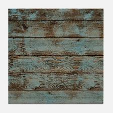 rustic western turquoise barn wood Tile Coaster
