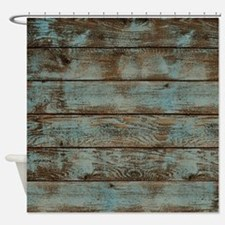 rustic western turquoise barn wood Shower Curtain