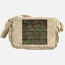 rustic western turquoise barn wood Messenger Bag