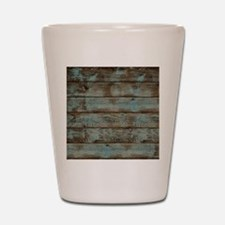 rustic western turquoise barn wood Shot Glass