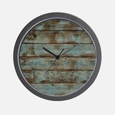 rustic western turquoise barn wood Wall Clock