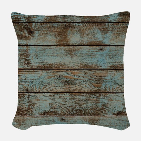 rustic western turquoise barn  Woven Throw Pillow