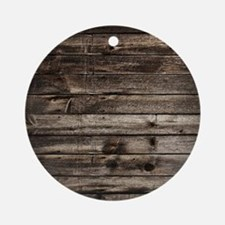 rustic primitive grey barn wood Round Ornament