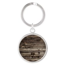 rustic primitive grey barn wood Round Keychain