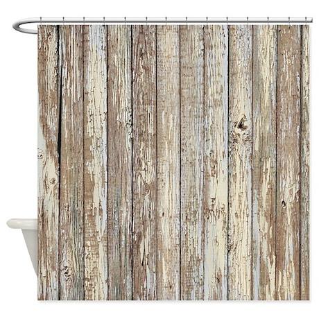 Wonderful Shabby Chic White Barn Wood Shower Curtain