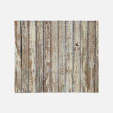 shabby chic white barn wood Throw Blanket