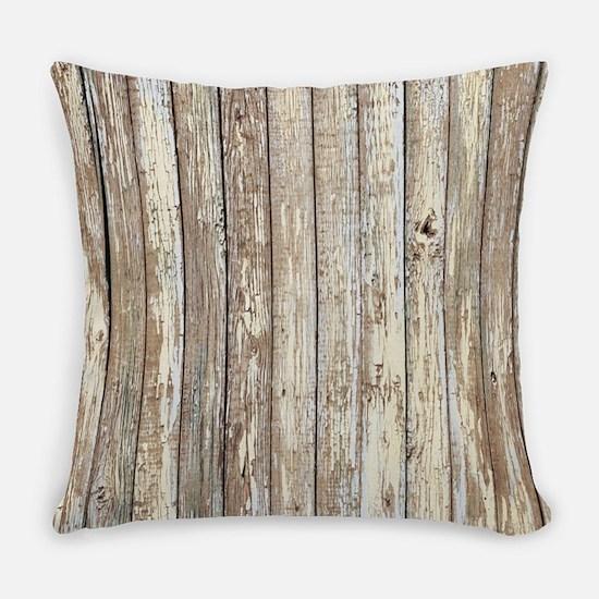 shabby chic white barn wood Everyday Pillow