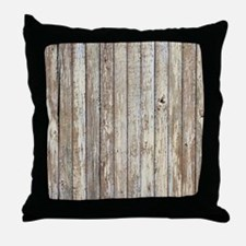 shabby chic white barn wood Throw Pillow
