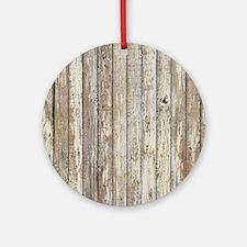 shabby chic white barn wood Round Ornament
