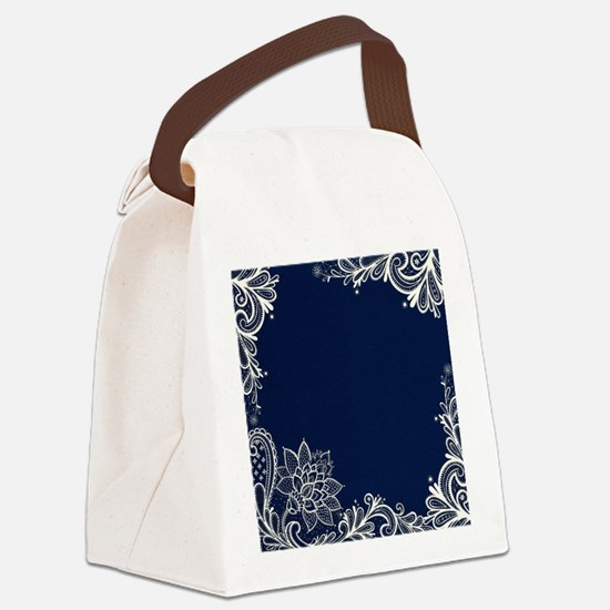 navy blue white lace Canvas Lunch Bag