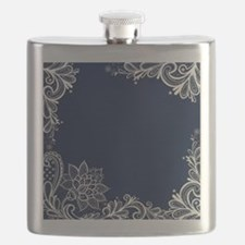 navy blue white lace Flask