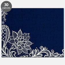 navy blue white lace Puzzle