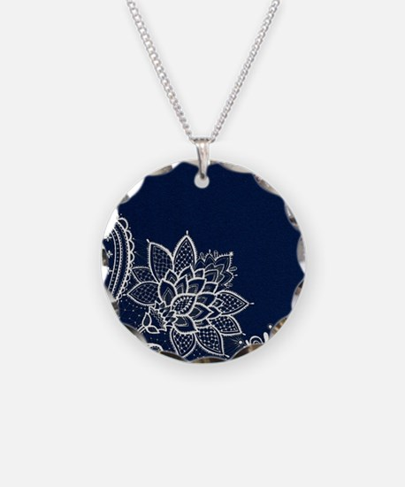 navy blue white lace Necklace